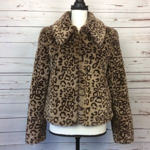 Willi Smith Leopard Faux Fur Jacket, Size M